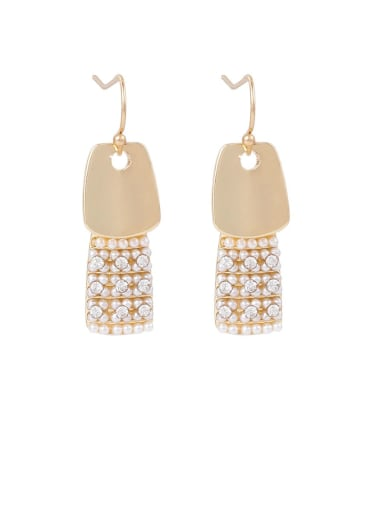 Brass Rhinestone White Geometric Minimalist Hook Earring