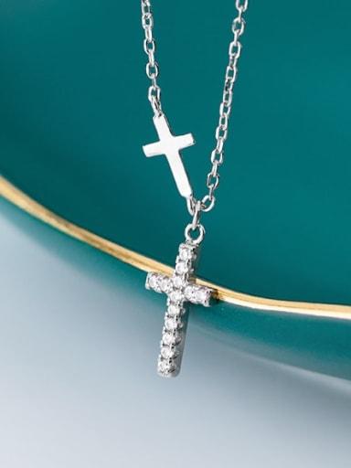 925 Sterling Silver Cubic Zirconia White Cross Minimalist Regligious Necklace