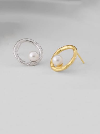 925 sterling silver imitation pearl iterative geometry minimalist study Earring