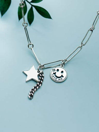 925 Sterling Silver  Vintage Retro smiley Pentagram hollow chain Necklace