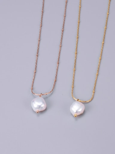 Titanium Imitation Pearl White Necklace