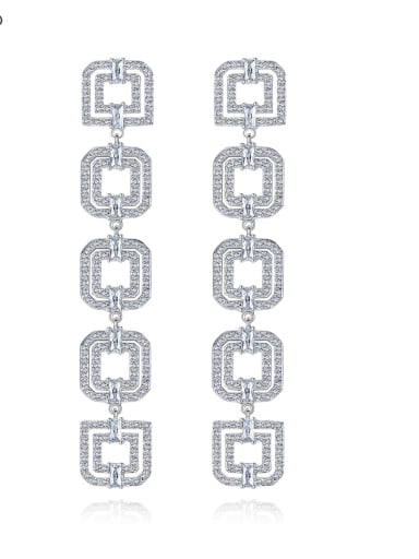Copper Cubic Zirconia long Hollow Square Luxury Threader Earring