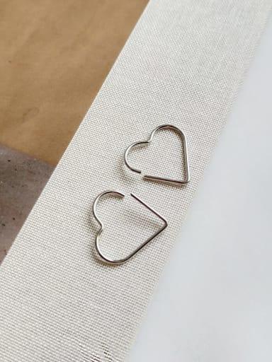 925 Sterling Silver  Hollow Heart Minimalist Stud Earring