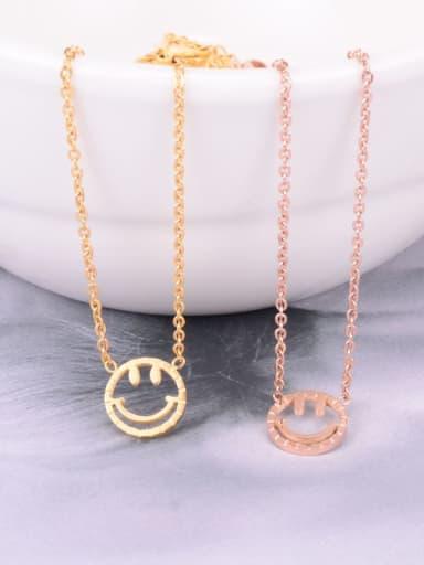 Titanium  Hollow Smiley Minimalist Choker Necklace