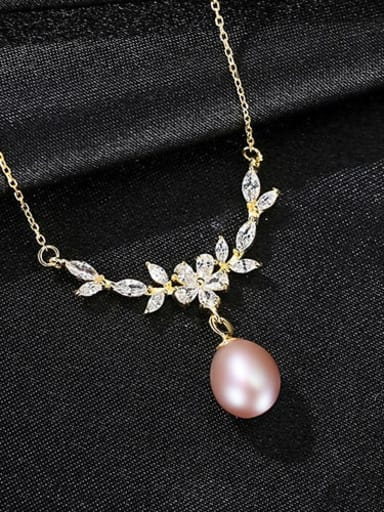 Purple 7B09 925 Sterling Silver  Micro zircon inlaid freshwater pearl necklace