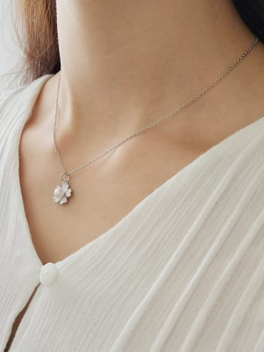925 Sterling Silver Simple flower pendant  Necklace