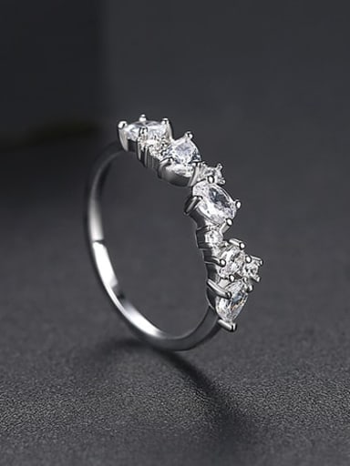 Platinum US 8 Copper Cubic Zirconia Irregular Minimalist Band Ring