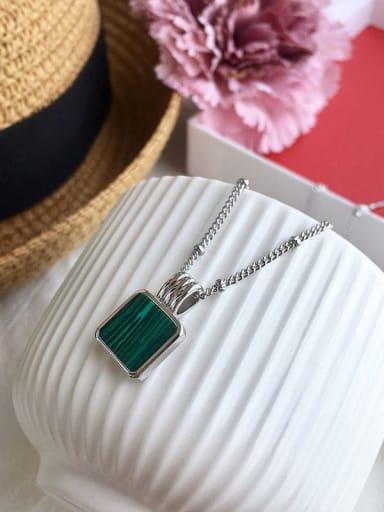 Silver Green (bead chain) Copper Malchite Necklace