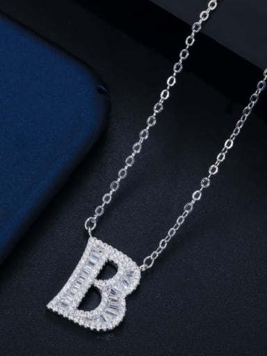 Letter B with chain Copper Cubic Zirconia Message Minimalist letter pendant Necklace