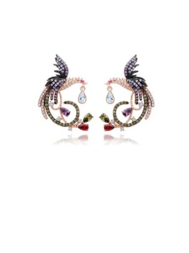 Copper Cubic Zirconia  Vintage Phoenix Stud Earring
