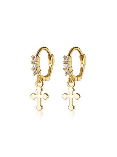 925 Sterling Silver Rhinestone Cross Minimalist Huggie Earring