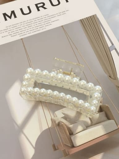 Transparent color 8.8cm Cellulose Acetate Imitation Pearl Minimalist Geometric  Jaw Hair Claw