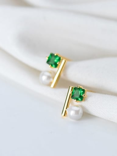 925 Sterling Silver Cubic Zirconia Green Square Minimalist Stud Earring