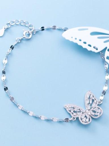 925 Sterling Silver Cubic Zirconia Butterfly Dainty Link Bracelet