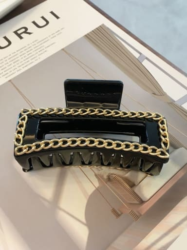 Black 10cm Cellulose Acetate Alloy  Chain Vintage Geometric Jaw Hair Claw