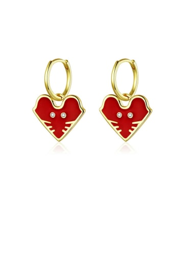 925 Sterling Silver With  Gold Plated Minimalist Heart Clip On Earrings