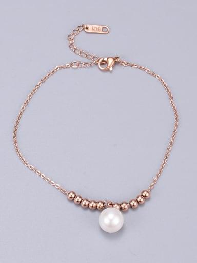 Titanium Imitation Pearl Round Classic Beaded Bracelet