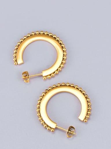 Titanium Bead Geometric Minimalist Hoop Earring