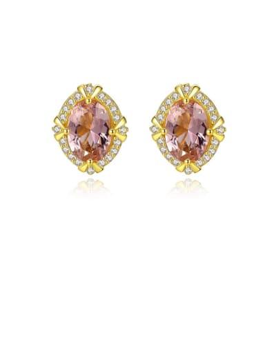 925 Sterling Silver Cubic Zirconia Geometric Luxury Stud Earring