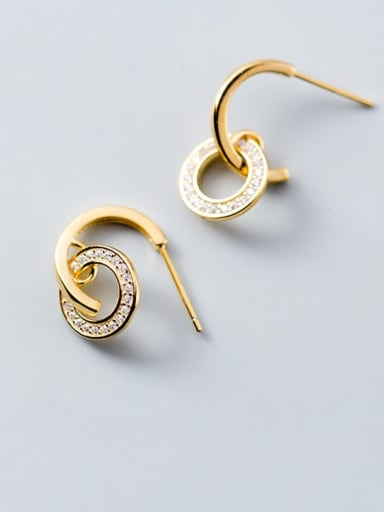 925 Sterling Silver Cubic Zirconia White Geometric Trend Hook Earring