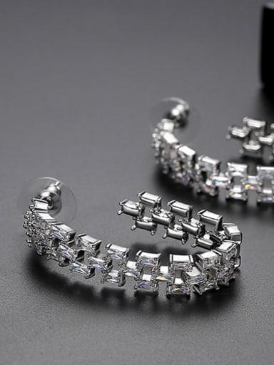 White zirconium plating platinum t04i20 Copper Cubic Zirconia Multi Color Square Statement Drop Earring