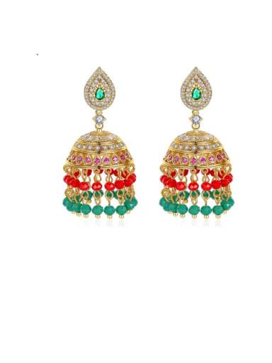 Green t04g26 Copper Cubic Zirconia Multi Color Bell Ethnic Drop Earring