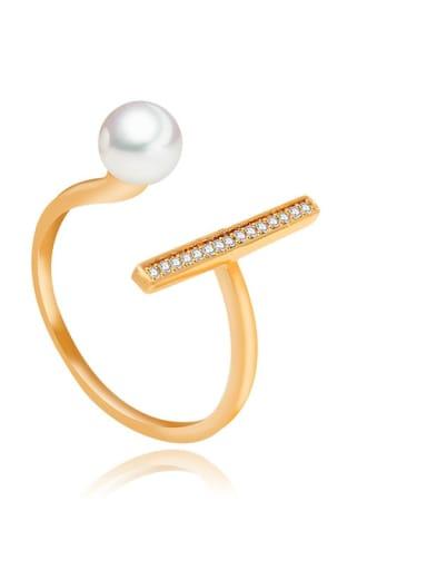Copper Imitation Pearl Irregular Minimalist Band Ring