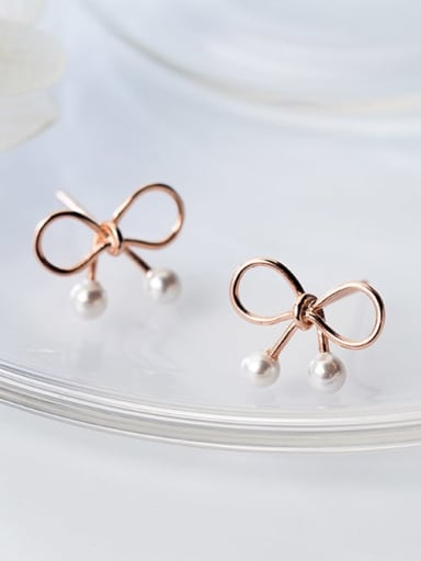 925 Sterling Silver Imitation Pearl White Bowknot Minimalist Stud Earring