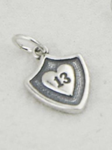 Dj149 13 shield Vintage Sterling Silver With Simple Retro  DIY Accessories