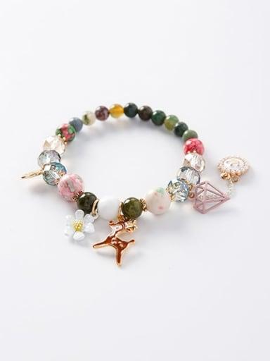Zinc Alloy Imitation Pearl Multi Color Round Bohemia Charm Bracelets