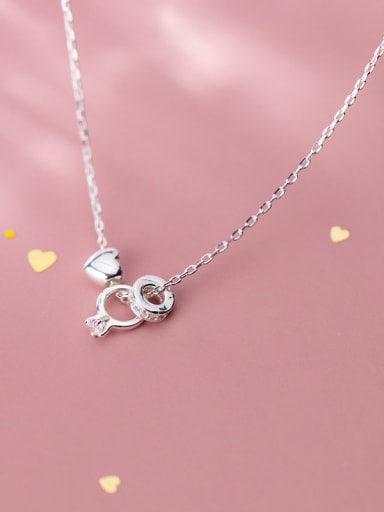 925 Sterling Silver Simple ring with diamond love Necklace