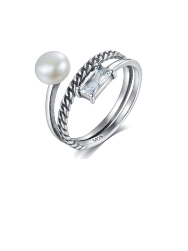 925 Sterling Silver Freshwater Pearl White Geometric Vintage Stackable Ring