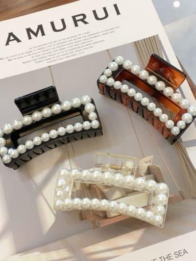Cellulose Acetate Imitation Pearl Minimalist Geometric  Jaw Hair Claw