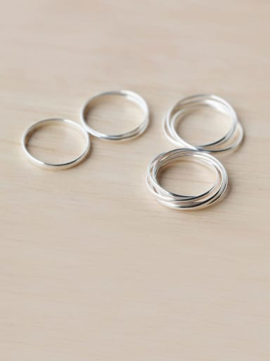 925 Sterling Silver Fashion simple multi-layer Round  Band Ring