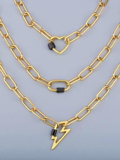 Titanium Irregular Vintage Hollow heart geometry pendant Necklace