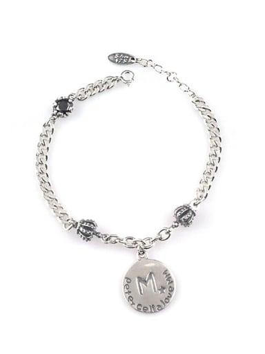Vintage Sterling Silver With Antique Silver Plated Vintage Round Bracelets