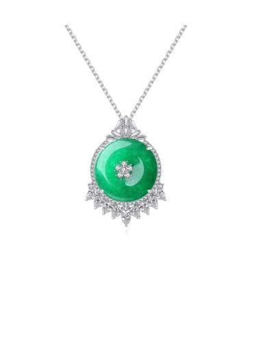 Copper Cubic Zirconia Green Necklace