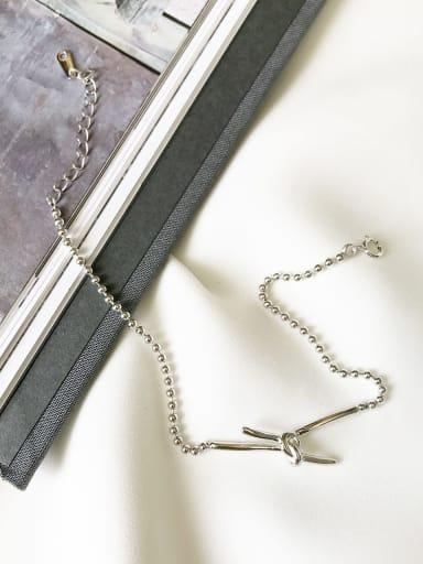 925 Sterling Silver Bowknot Dainty Beaded Bracelet