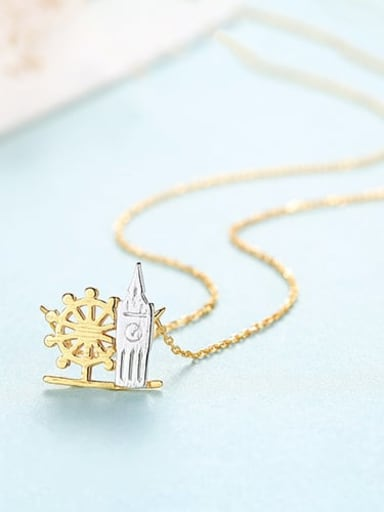 18K 15I09 925 Sterling Silver Simple multicolor plating pendant Necklace