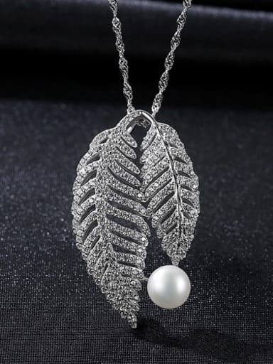 White 5e07 925 Sterling Silver Cubic Zirconia Fashion luxury leaves pendant  Necklace