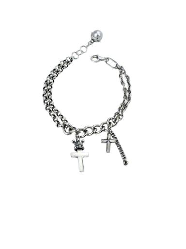 925 Sterling Silver With Antique Silver Vintage Cross Bracelets