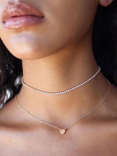 Titanium Cubic Zirconia Square Minimalist Choker Necklace