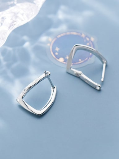 925 Sterling Silver Hollow Geometric Minimalist Stud Earring
