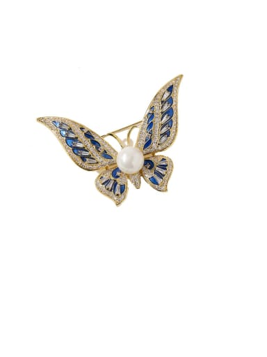 gold Copper Cubic Zirconia White Butterfly Dainty Brooches