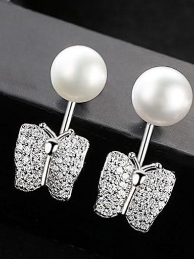 White 2D09 925 Sterling Silver Freshwater Pearl Irregular Earring