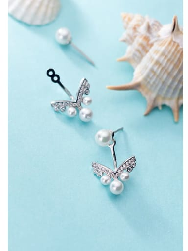 S925 silver simple diamond V-shaped  Imitation Pearl  Earrings