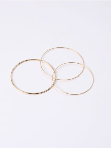 Titanium With Imitation Gold Plated Simplistic Round Bangles
