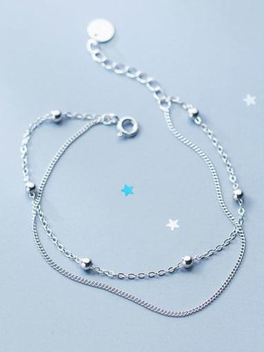 925 Sterling Silver Bead Round Minimalist Strand Bracelet