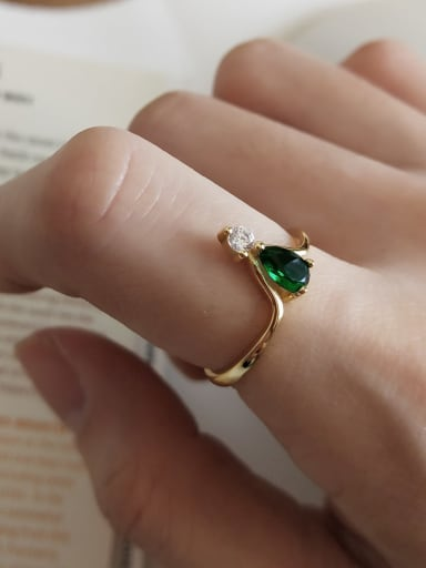 925 Sterling Silver Cubic Zirconia Green Water Drop Dainty Solitaire Ring