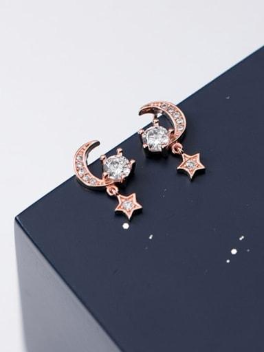 925 Sterling Silver Cubic Zirconia  Star Moon Dainty Stud Earring
